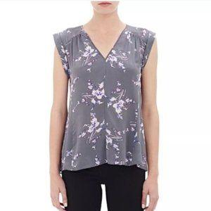 Rebecca Taylor size 6 Gray & Purple Silk Blouse